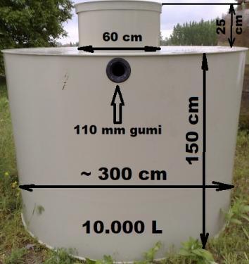 4.1 - PE. 10 m3-es műanyag tűzi-víz tartály, lépésálló tetővel