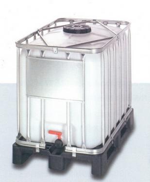 1.6. <> 640 liter, Felújított, IBC általános IPARI tartály / konténer - AT38