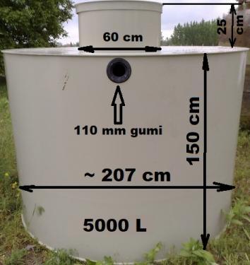 5.1. <>5 m3-es PE. műanyag szennyvíz tartály, lépésálló tetővel
