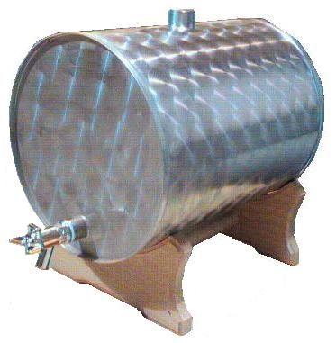 072. 70 / 72 L-es rozsdamentes acél bortartály / pálinkatartály, fekvő + fa állvány