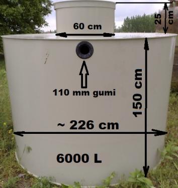 6.1. <> 6 m3-es PP./PE.  műanyag esővíz gyűjtő tartály + lépésálló tető