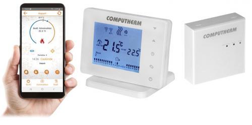 Computherm E400RF rádiófrekvenciás programozható szobatermosztát Wi-Fi kapcsolattal és érintőgombokkal