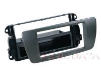 Seat Ibiza autórádió beépítő keret 1 DIN fiókkal gumi borítással 29132